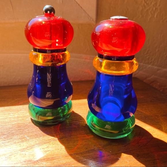 Vintage Other - **SOLD** Rainbow Acrylic Salt + Pepper shaker mill